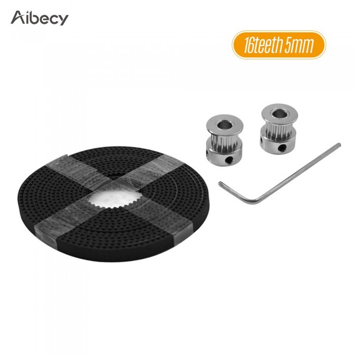 Aibecy 3D Printer Tool Kit 16 Teeth 20 Teeth Timing Alumiun Pulley Wheels 2 Meters Timing GT2 Belt Hexagon Wrench Accessory Parts Suite for 3D Printer