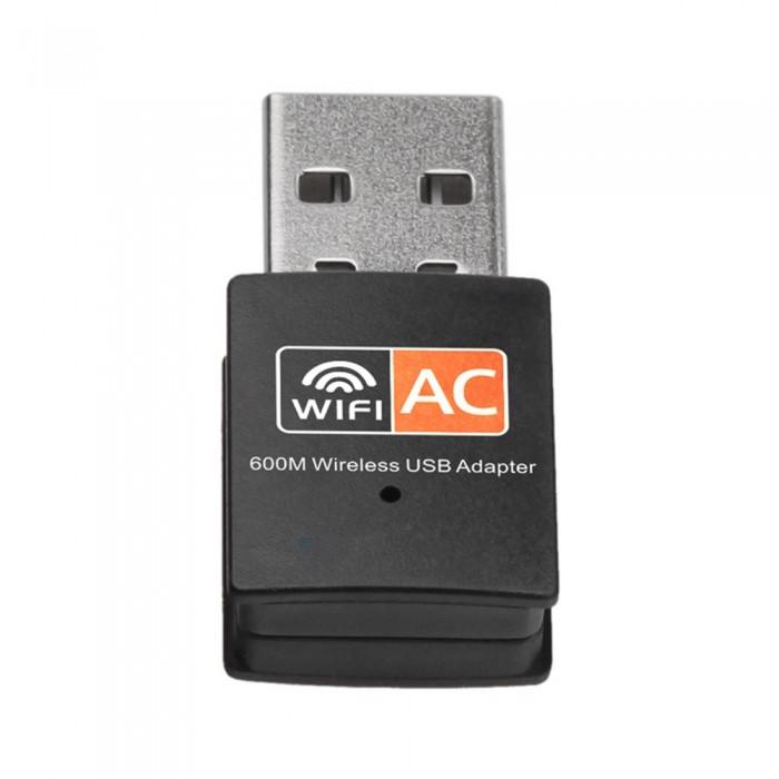 Dual Band 600Mbps 2.4GHz +5GHz USB Wireless Adapter Wifi Antenna 802.11a/b/g/n/ac WiFi USB Adapter for MAC Windows Black