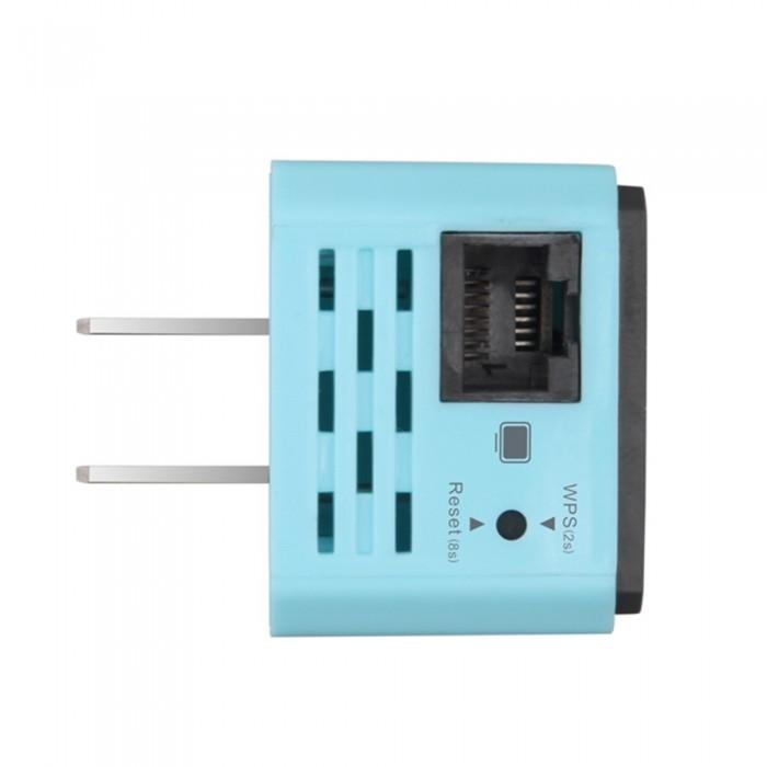 300M Wireless WiFi Repeater 802.11N Mini AP Signal Amplifier Range Extender Signal Booster WiFi Signal Range Extender US Plug Light Blue