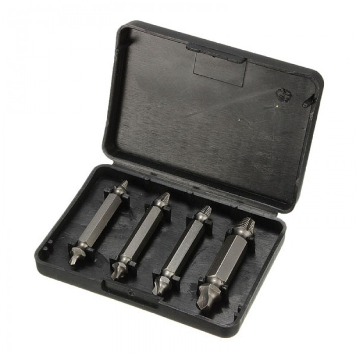 4pcs Double Sided Damaged Screw Extractor S2 Alloy Steel