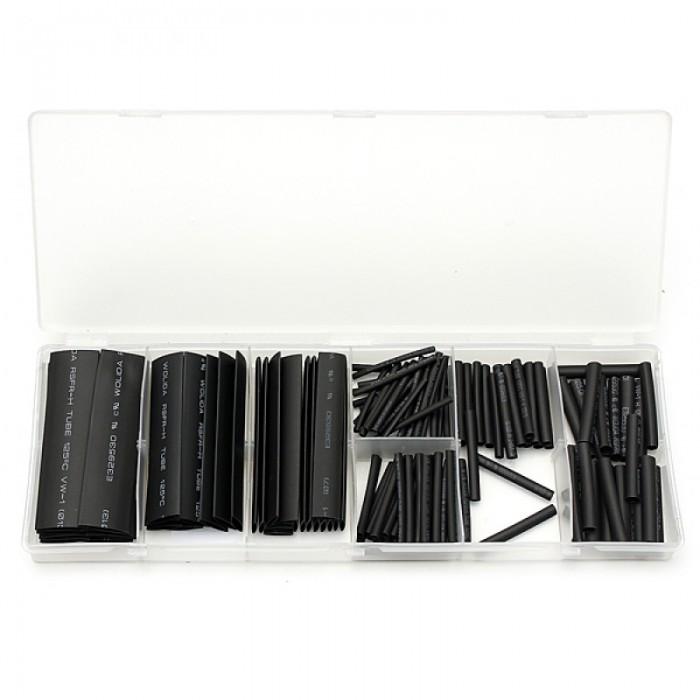 127pcs Halogen-free Polyolefin 2:1 Heat Shrink Tube Sleeve Assortment Kit Black