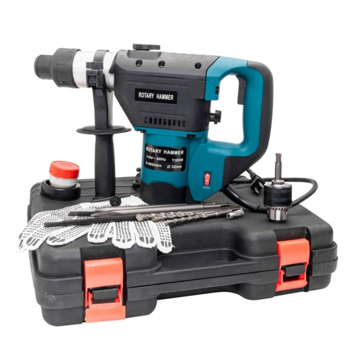 "1-1/2"" SDS Electric Hammer Drill Set 1100W 110V Blue"