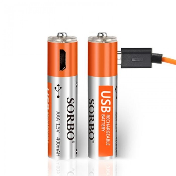 2pcs SORBO 1.5V 400mAh Rechargeable AAA Batteries with 4-in-1 Charger Cable