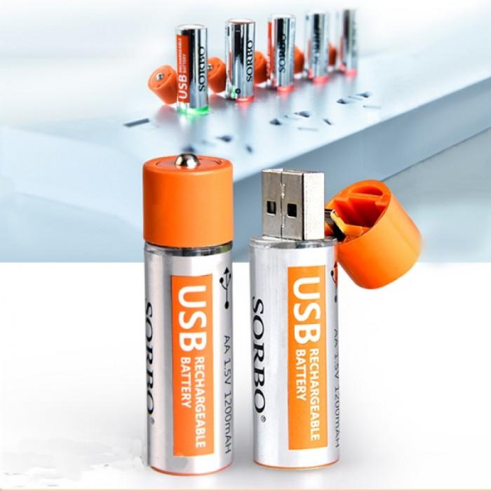 2pcs SORBO 1.5V 1200mAh USB Rechargeable 1 Hour Quick Charging AA Li-po Battery