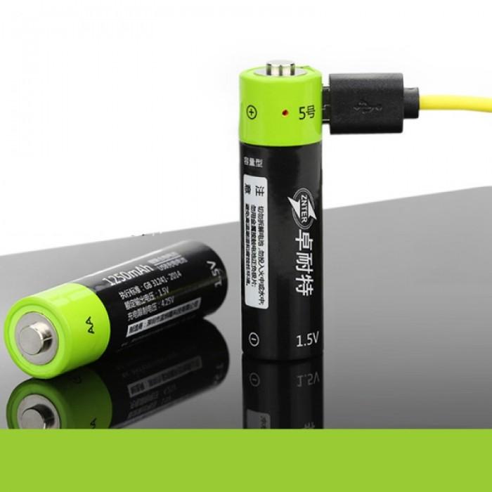 2pcs ZNTER 1.5V 1250mAh USB Rechargeable AA Li-Po Batteries