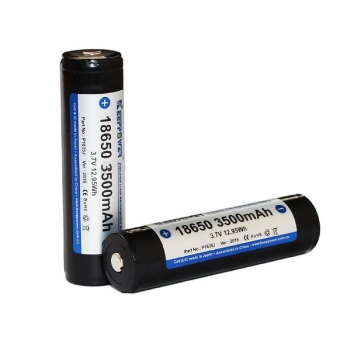 2pcs KeepPower P1835J 18650 3500mAh 3.7V Rechargeable Batteries Black