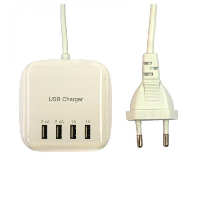 20W 100-240V 4USB 3.2A USB Charging EU Regulatory Power Strip Socket EU Plug White