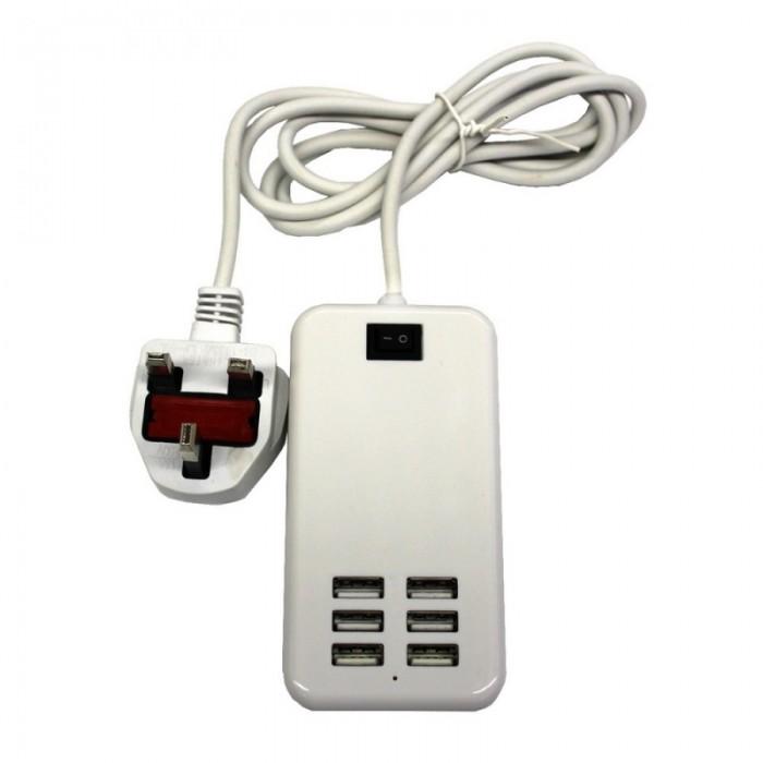 30W 6-USB 6A Portable Charger USB Socket UK Standard White