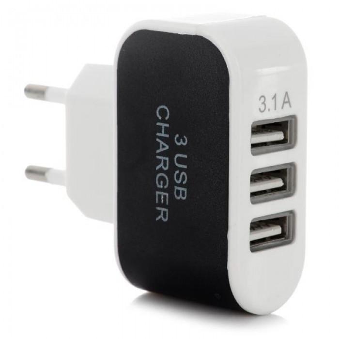 3 USB 2.0 Ports 5V 3.1A Wall Home Travel Smart Quick Charger EU Plug