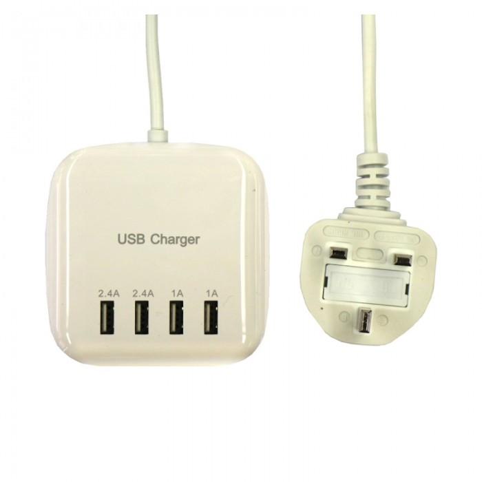 20W 100-240V 4USB 3.2A USB Charging British Regulatory Power Strip Socket UK Plug White