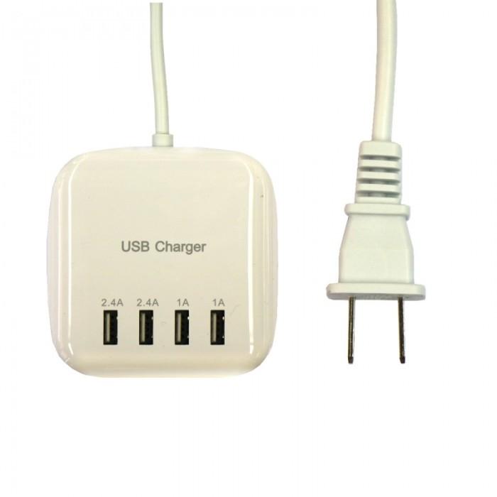 20W 100-240V 4USB 3.2A USB Charging US Regulatory Power Strip Socket US Plug White