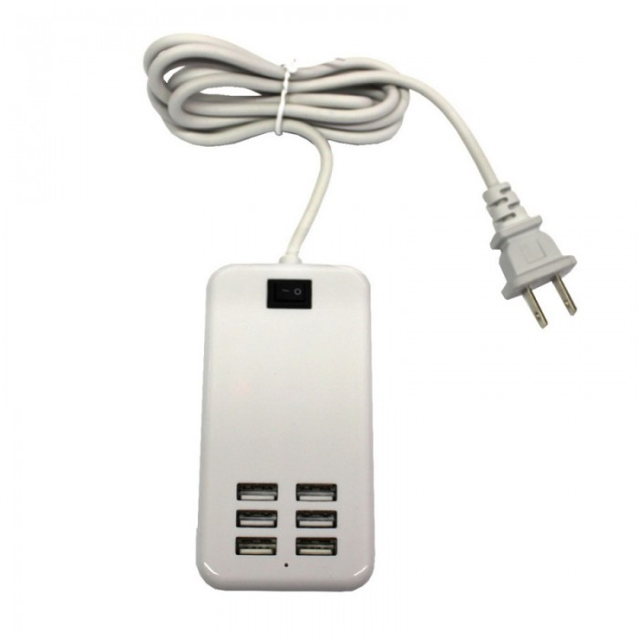 30W 6-USB 6A Portable Charger USB Socket US Standard White