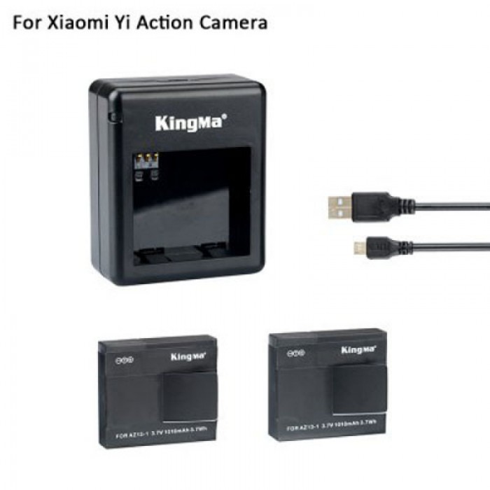 2pcs 1010mAh Li-ion Batteries with Dual-Slot Charger & USB Cable for Xiaomi Yi Sports Camera Black