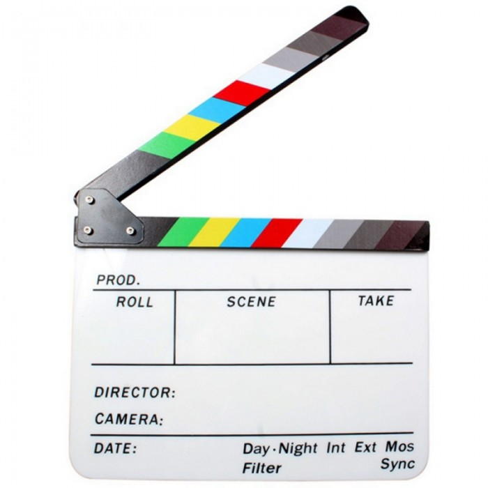 """Acrylic Dry Erase Film Movie Director Clapperboard Slate with Colorful Clapstick 9.6 x 11.7"""""""