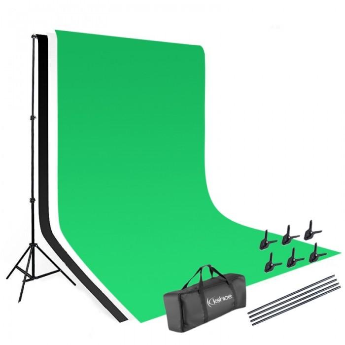 Kshioe 1.6*3m Non-woven Fabrics 2*3m Background Stand Photography Video Studio Lighting Kit Black & White & Green