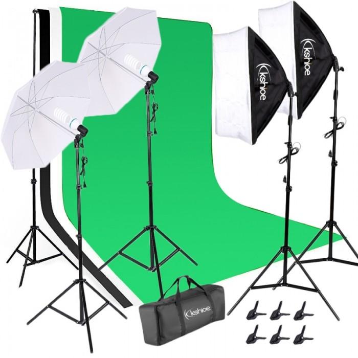Kshioe 135W White Umbrellas Soft Light Box with Background Stand Muslim Cloth (Black & White & Green) Set US Standard