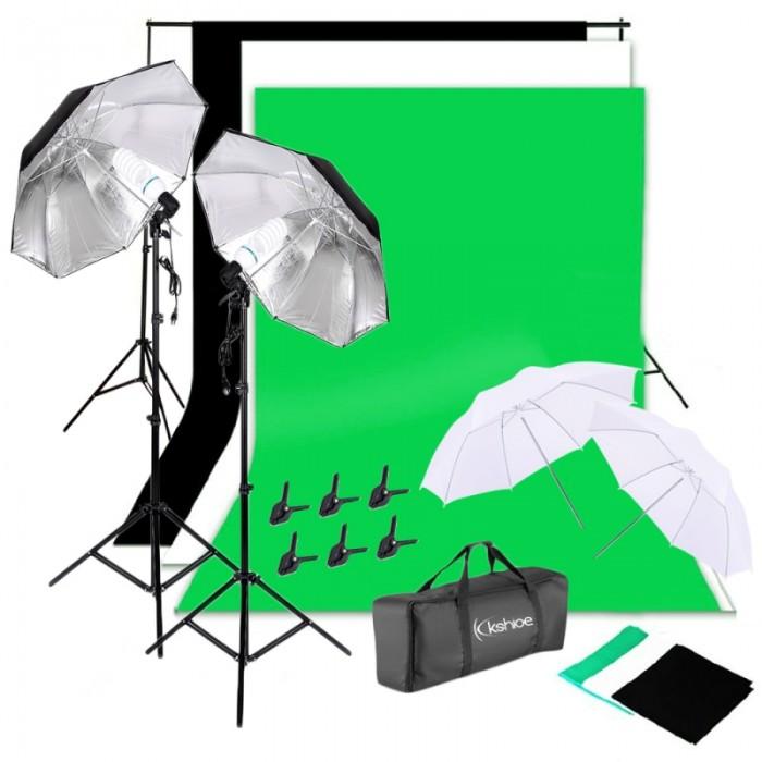 Kshioe 135W Silver Black Umbrellas with Background Stand Muslim Cloth (Black & White & Green) Set US Standard